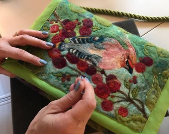 Felted Cardinal and Berries Pocketbook