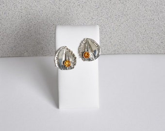 Silver, Textured, Citrine Post Earrings