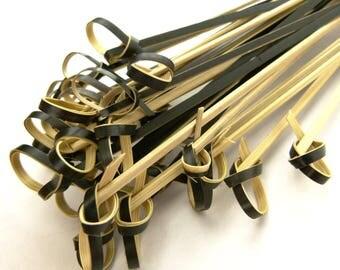 Bamboo Knot Picks Skewers Black