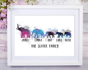 Personalised family print, Elephant print, Wall art print, Housewarming gift, Family print, Wedding gift, Anniversary gift, Fathers Day gift
