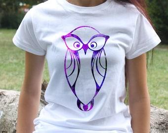 Purple Owl Tee - Bird T-shirt - Fashion women's apparel - Colorful printed tee - Gift Idea