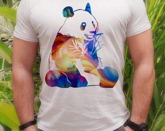 Colorful panda t-shirt - Bear tee - Fashion men's apparel - Colorful printed tee - Gift Idea