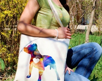 Pitbull tote bag -  Dog shoulder bag - Fashion canvas bag - Colorful printed market bag - Gift Idea