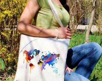 Art tote bag -  Continental map shoulder bag - Fashion canvas bag - Colorful printed market bag - Gift Idea