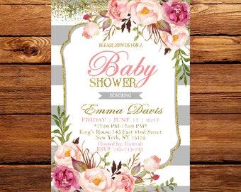 Baby Shower Invitation Floral Baby Shower Invitation Printable Baby Invitation Blush Pink Baby Shower Spring Baby Shower 191