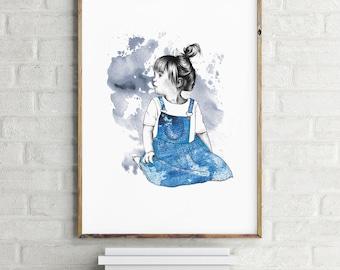 Illustration // Poster // Denimdress // Aquarell // Children // Childrenroom // DIN A3
