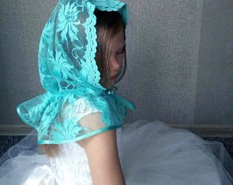 Electric blue Head covering, Church Head Scarf, Little girl veil, Lace shawl for girl, Catholic girl veil, Church veil, lace summer scarf