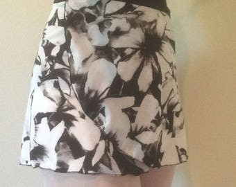 Womens Printed Ballet Wrap Skirt - Black and White Floral
