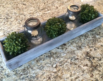 Wooden Box Centerpeice - Mason Jar Wood Box - Rustic Centerpeice Box - Farm Box - Wooden Display Box - Wooden Planter Box
