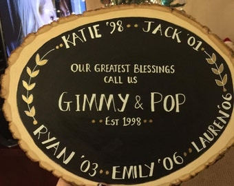 Wood rounds grandparent family personalized plaques signs