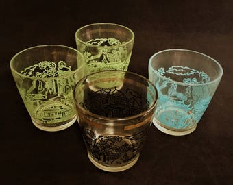 Hazel Atlas Oriental Themed Cottage Cheese Glasses
