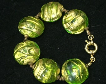Green and gold textured Venetian glass bracelet