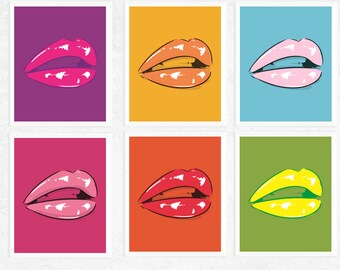 50% OFF Sale - Lips Art | Pop Art Lips Printables | 6 Set | Pop Art Prints | Fun Art | Contemporary Art | Art Printables | Digital Download