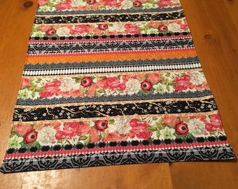 Rectangular table runner, floral, table runner, stripes