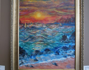 Stormy Sunset, original oil painting, coastal scene, seascape