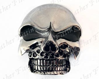 Angry Skull Screwback Conchos, 2 pcs Zinc Silver Tone, Buttons Decoration Leather fittings Costume Jewelry leathercraft