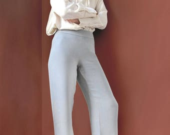 Giorgio Armani silk pants / gray blue / 90s vintage style / High waist, wide cut / size small