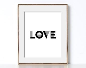 Love Print Love Poster Love Printable Digital Download Minimalist Poster Scandinavian Wall Art Love Typography Print Affiche Scandinave Art