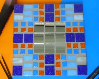 Mosaic mirror Blue and Orange made up glass mosaic mirror