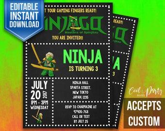 Lego Ninjago Invitation, Ninjago Invitation, Lego invitation, NinjaGo birthday invitation,  Lego Ninjago Invites, Invite, Lego Ninjago