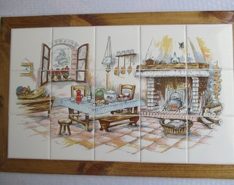 Country Kitchen,framed tile mural, mural, wall hanging, backsplash, shower, framed tile, custom tile, decorative tile, kitchen tile, art