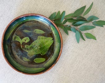 Fish Small Ceramic Serving Plate // Hand Painted Black, Green // Vintage Mexican Redware Pottery Plate // Mexican pottery // Plate