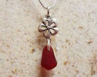 Dainty Sterling Silver Flower and Red Sea Glass Necklace- FREE SHIPPING!