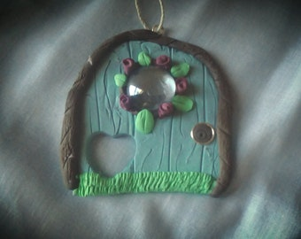 Magical ornament teal door, fairy door