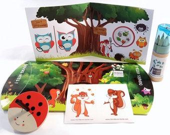 Gift pouch surprise activity, creative hobbies, children 4-6 years (wedding, baptism, birthday, celebrate family, restaurant...)
