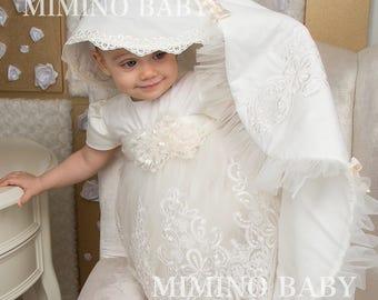 VERONIKA christening blanket, baptismal blanket, heirloom blanket, christenig cover, christening gift white baby blanket afghan baby blanket