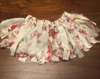 Vintage burgundy pink sheer rose scrap tutu scrap skirt