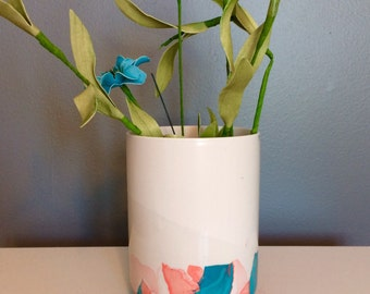 Teal and coral marble vase/ pencil holder