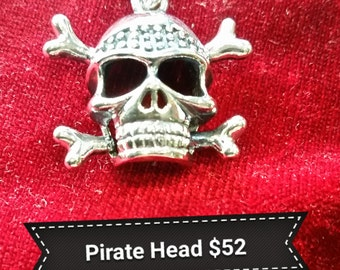 Pirate Skull Pendant - Sterling Silver