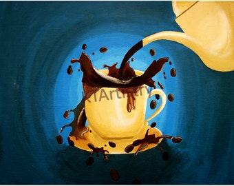 Coffee Lover's Morning, Fine Art Print of Original Drawing, Acrylic Painting on Heavyweight Canvas Board