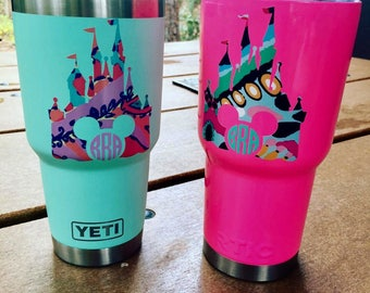 Disney castle decal / monogram decal / Castle decal / Disney castle / Mickey decal / Vinyl sticker / yeti cup decal / laptop decal / Vinyl