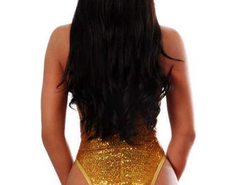 Women's Beautiful Gold Sequin One-Piece Body Suit Swimwear, Gold Swimsuit, Sexy Swimsuit, Sexy Bikini, One Piece Swimsuit, Bride Swimsuit