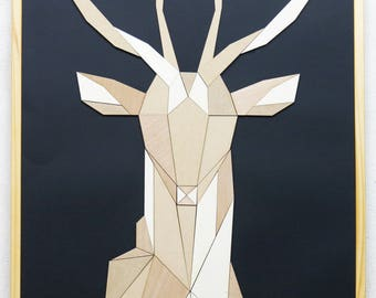 Patchwork wood deer
