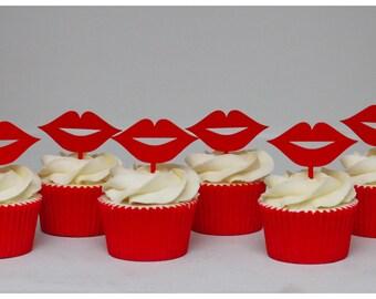 Hot lips cupcake picks