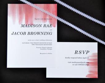 Watercolor Wedding Suite, Pink Wedding Invitations