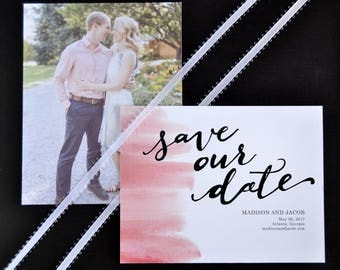 Pink Watercolor Save the Date, Calligraphy Save the Date
