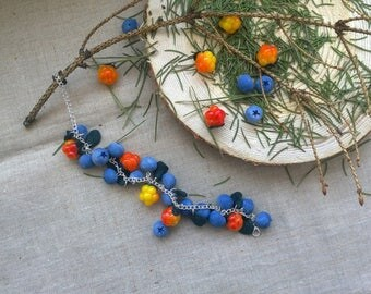 Bracelet with blueberries and cloudberries - Blueberry - Cloudberry - Polymer clay - Berry bracelet