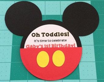 12 Mickey Mouse Shaped Birthday Invitation