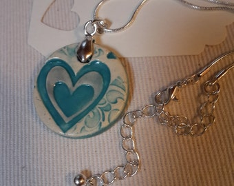 Teal Ceramic Heart Necklace