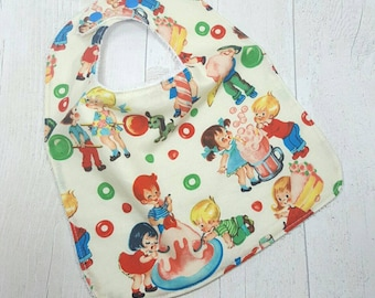 SALE Large baby bib, retro baby gift, messy play, feeding bib, terry towelling bib, toddler bib, gender neutral baby, baby bibs handmade