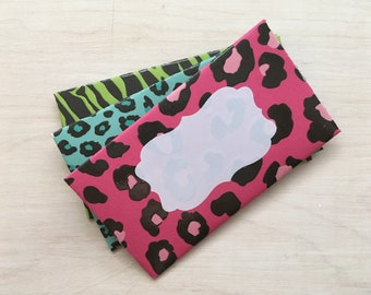 Gift card holders set of 3. Animal print. Made from cardstock. Mini envelopes. Gift hard envelope. Gifts for grad.