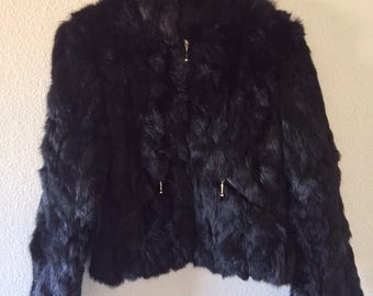 Dead Baby Bunny Black Fur Coat Bomber Jacket
