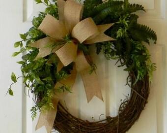 Grapevine Wreath, Everyday Wreath, Front Door Wreath, Spring Wreath, Summer Wreath, Fall Wreath, Burlap Wreath, Rustic Wreath, Home Decor
