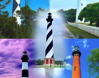 Outerbanks Lighthouses North Carolina - Cape Lookout Ocracoke Cape Hatteras Bodie Island Currituck  Canvas Gallery Wrap