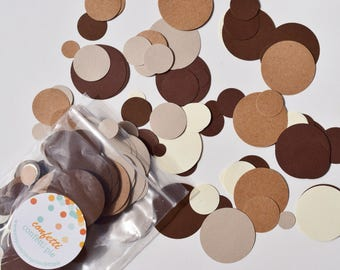 Brown Confetti - Coffee - Chocolate - Birthday Party - Baby Shower - Table Scatter - Neutral - Cream - Woodland - Rustic - 480 Pieces