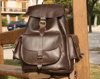 XLarge leather backpack/ Dark brown backpack/ Classic backpack/ Leather knapsack/ Leather rucksack/ College bag/ Greek leather bag/ code 130